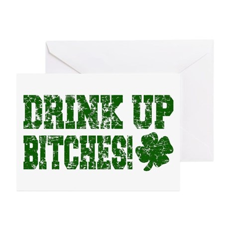 Drink Up Bitches Distressed Greeting Cards (Packag