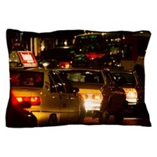 Traffic in New York City at night Pillow Case
