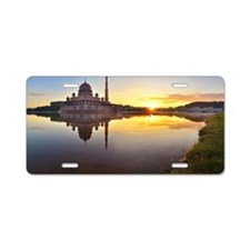 Floating mosque with mornin Aluminum License Plate
