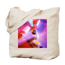 Hypodermic needle with vials of vaccine Tote Bag