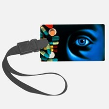 Illustration of an eye, with pil Luggage Tag