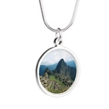Incan ruins at Machu Picchu, Silver Round Necklace