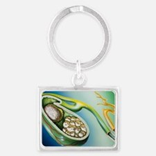 Illustration of stones in the g Landscape Keychain
