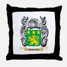 Morman Coat of Arms - Family Crest Throw Pillow