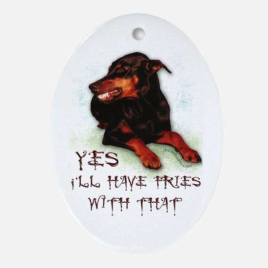 Doberman Humor Oval Ornament