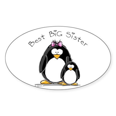 Best Big Sister penguins Oval Sticker
