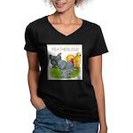 Feather-leg Trio Women's V-Neck Dark T-Shirt