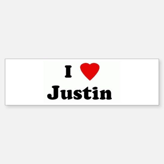 I Love Justin Bumper Bumper Bumper Sticker