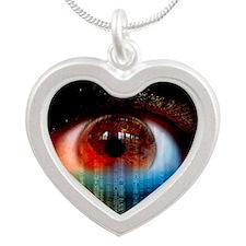Iridology cholesterol ring Silver Heart Necklace