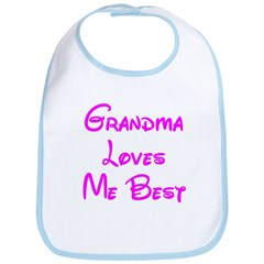 Grandma Loves Me Best Pink Bib