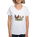 Blue Mille Fleur d'Uccles Women's V-Neck T-Shirt