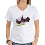 Red Leghorn Chickens Women's V-Neck T-Shirt
