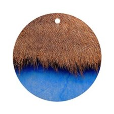 Thatched blue hut in Akumel Bay, Me Round Ornament