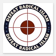 """Defeat Radical Islam Square Car Magnet 3"""" x 3"""""""