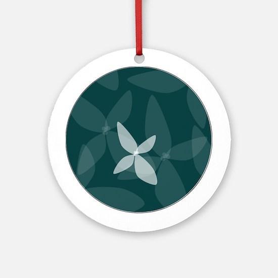 Flower Art (sea blue) Ornament (Round)