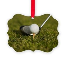Detail of a golf club next to a g Ornament