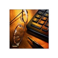 "Calculator with eyeglasses  Square Sticker 3"" x 3"""