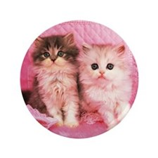 """Two Kittens Sitting on a Pink Fluffy C 3.5"""" Button"""