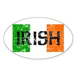 Irish Flag distressed Oval Sticker