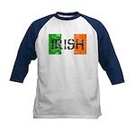 Irish Flag distressed Kids Baseball Jersey