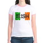 Irish Flag distressed Jr. Ringer T-Shirt