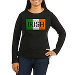 Irish Flag distressed Women's Long Sleeve Dark T-S