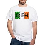 Irish Flag distressed White T-Shirt