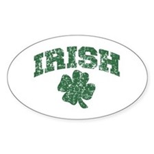 Worn Irish Shamrock Oval Decal