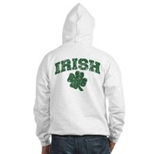 Worn Irish Shamrock Hoodie Sweatshirt