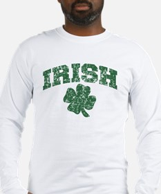 Worn Irish Shamrock Long Sleeve T-Shirt
