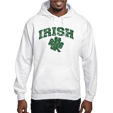 Worn Irish Shamrock Hoodie Sweatshirt