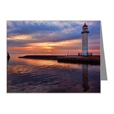 Lighthouse on jetty at sunse Note Cards (Pk of 20)