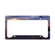 Lighthouse on jetty at sunset License Plate Holder