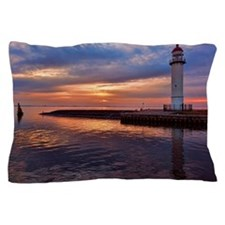 Lighthouse on jetty at sunset Pillow Case