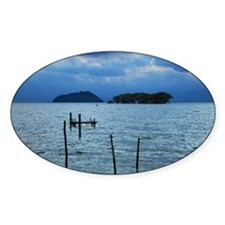 Wooden posts in lake Decal