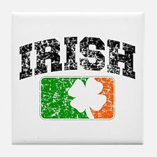 Distressed Irish Flag Logo Tile Coaster