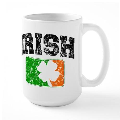 Distressed Irish Flag Logo Large Mug