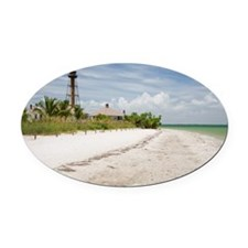 The beach near Sanibel Lighthouse Oval Car Magnet
