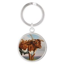 Texas Longhorn Steer Round Keychain