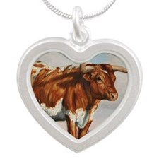 Texas Longhorn Steer Silver Heart Necklace