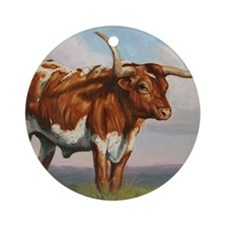 Texas Longhorn Steer Round Ornament
