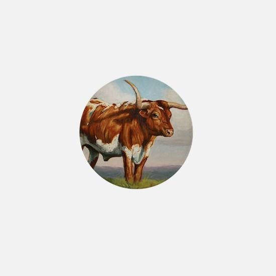 Texas Longhorn Steer Mini Button