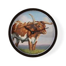 Texas Longhorn Steer Wall Clock