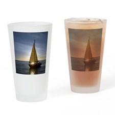 Boat at Sunset Drinking Glass