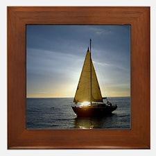 Boat at Sunset Framed Tile