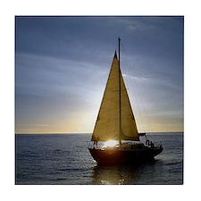 Boat at Sunset Tile Coaster