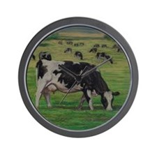 Holstein Milk Cow in Pasture Wall Clock