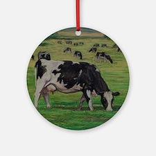 Holstein Milk Cow in Pasture Round Ornament