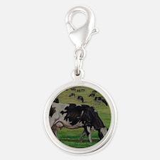 Holstein Milk Cow in Pasture Silver Round Charm