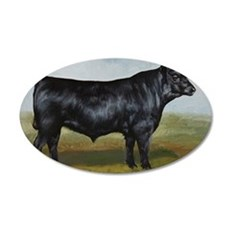 Black Angus 35x21 Oval Wall Decal